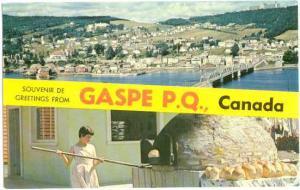 Souvenir De Greetings From Gaspe, Quebec, Canada, Chrome