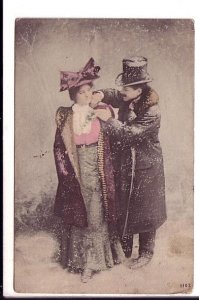 Romantic Couple, pre 1908, Dressed for Outdoors, Corsage