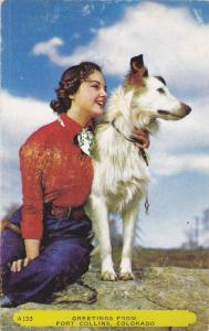 Woman with her dog, Fort Collins, Colorado,  40-60s