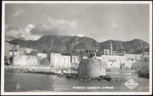 cyprus, KYRENIA, Harbour Scene, Lighthouse, Mosque (1950s) RPPC