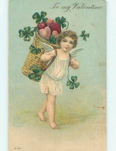 Divided-Back Valentine CUPID WITH BASKET ON HEARTS ON BACK o5382