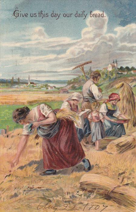 Give us this day our daily bread, Men, women and child harvesting field, PU...