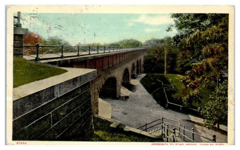 1910 Approach to Echo Bridge, Charles River Postcard