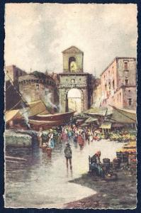 Capuan Port Naples by Carelli unused c1940's