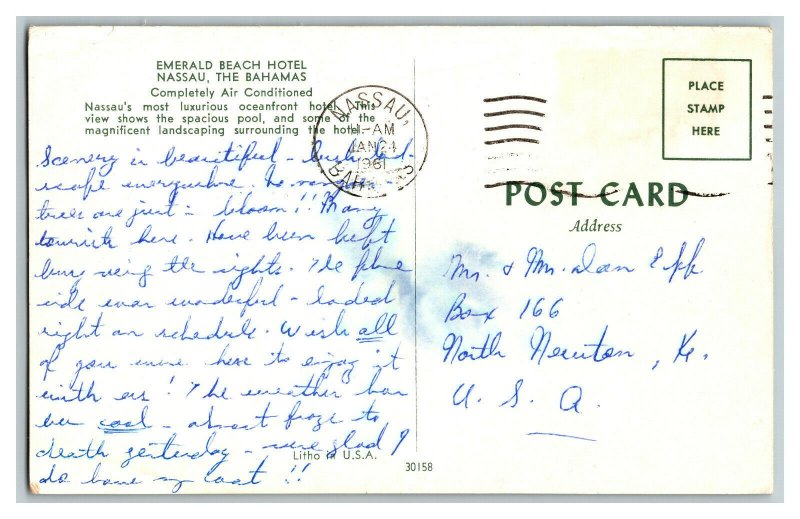 1961 Emerald Beach Hotel Nassau The Bahamas Vintage Standard View Postcard