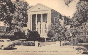 Brockton MA 1940s Cars @ The First Church of Christ Scientist~Litho B&W Postcard