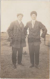 Illinois Il Real Photo RPPC Postcard 1913 SHELDON two Men Dressed Up