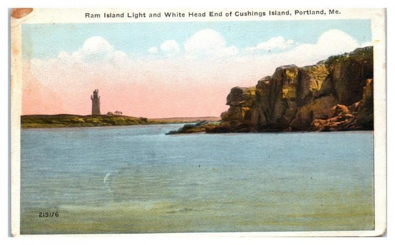1922 Ram Island Light & White Head End Cushings Island, Portland, Maine Postcard