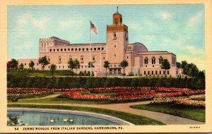 Pennsylvania Harrisburg Zembro Mosque From Italian Gardens Curteich