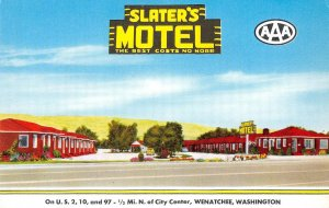 SLATER'S MOTEL Wenatchee, Washington US 2, 10 & 97 Roadside ca 1950s Postcard