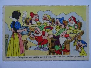 Walt Disney SNOW WHITE Pour recompenser...... c1930's French Postcard No.14