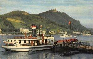 Konigswinter am Rhein Drachenfels Boats River Postcard