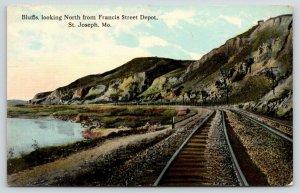 St Joseph MO~Railroad Tracks Curve Around Bluffs~Francis Street Depot~1912 PC