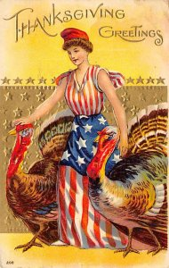 Uncle Sam Thanksgiving Greetings USA 1908