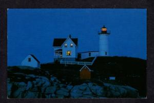 ME Nubble Light Lighthouse Dusk Night York MAINE Postcard PC Carte Postale