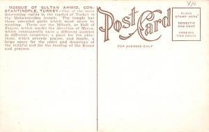Turkey Old Vintage Antique Post Card Mosque of Sultan Ahmid Constantinople Un...