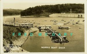 1939 Norris TN RPPC: Boat Dock, Clements Photography