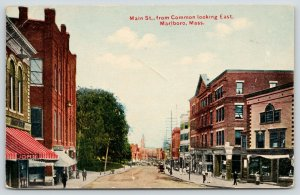 Marlboro Massachusetts~Main Street~Sidewalk Clock~Lunch Room~c1910 Postcard