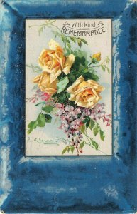 LP16    Catherine Klein Flowers Floral Postcard Artist Signed Blue Border