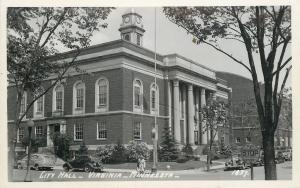 Virginia Minnesota~City Hall~Thru Stop Street Sign~1930s Cars~Real Photo~RPPC