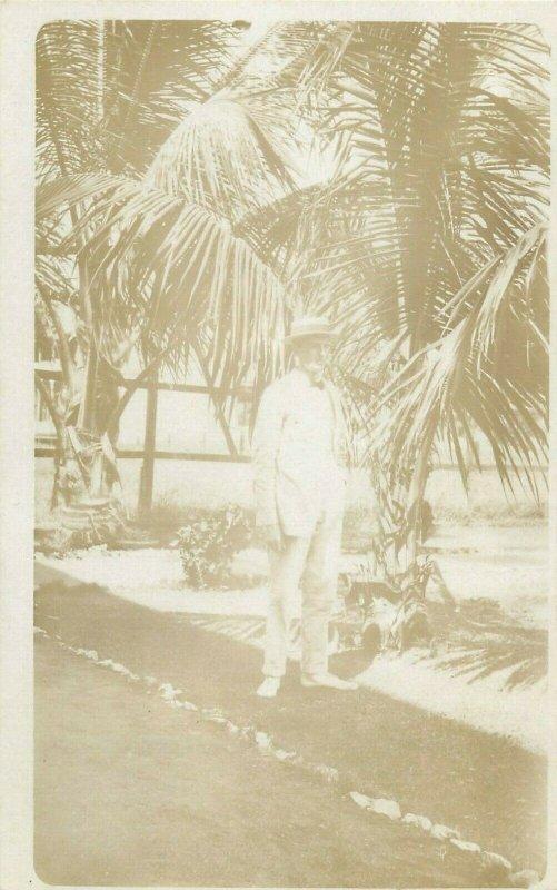 Social history early photo postcard man portrait