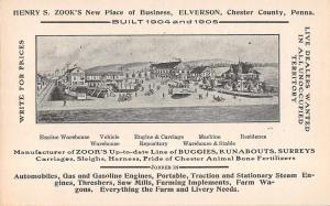 Elverson Pennsylvania Zook Carraige Buggie Advertising Antique Non-PC (J32548)