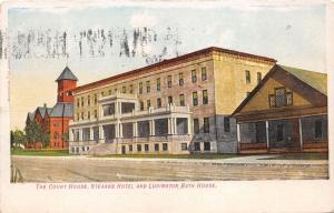 Ludington Michigan~Mason County Court House~Stearns Hotel~Bath House~1909 Pc
