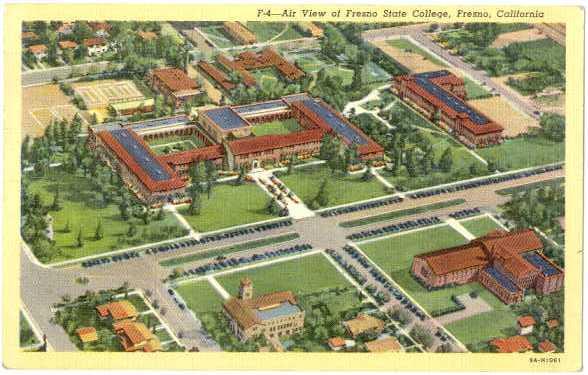 Linen Air View of Fresno State College Fresno Califnornia CA