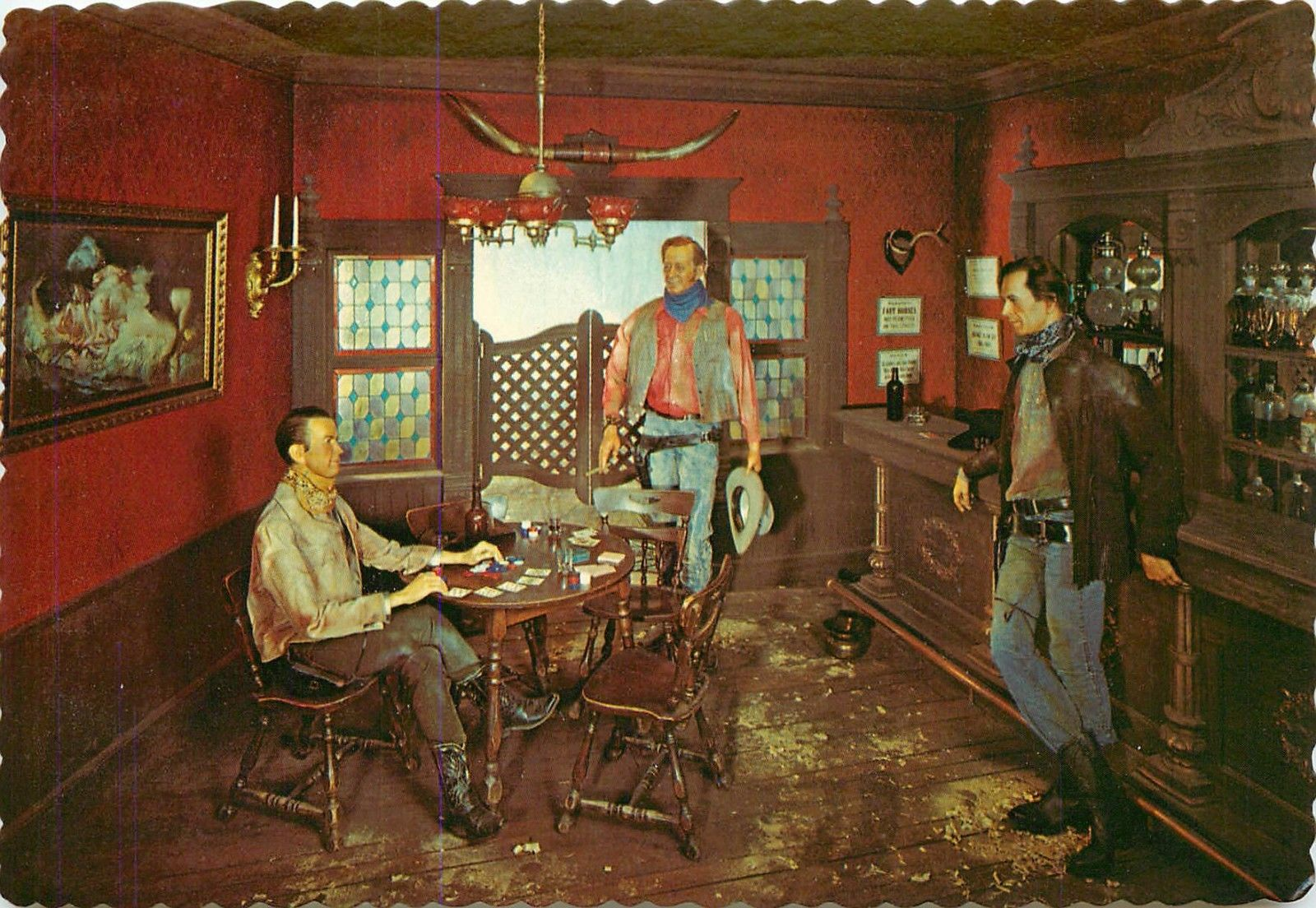 Jimmy Stewart John Wayne Gary Cooper Waxlife Usa Museum Lake George Ny Postcard Hippostcard