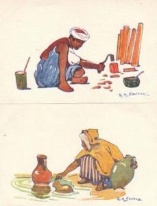 Asian Street Worker Urn River 2x Sandoz Art Postcard