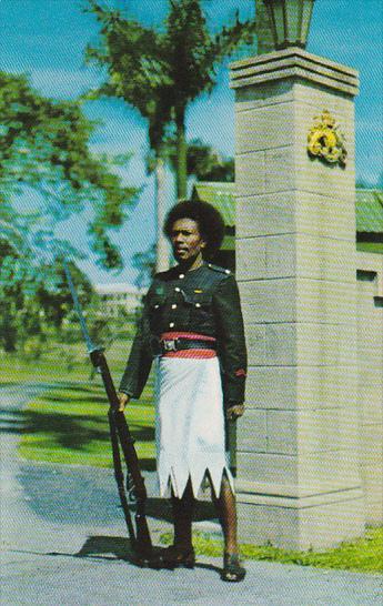 Fiji Suava Policeman Guarding Government House