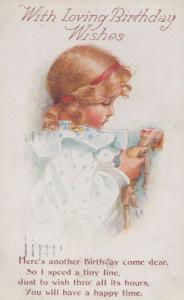 Broken Antique Toy Doll With Dangling Arms Happy Birthday Wishes Dolls Postcard