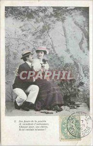 Old Postcard Flowers of the Meadow I would come to you Kissing Each day my Ch...