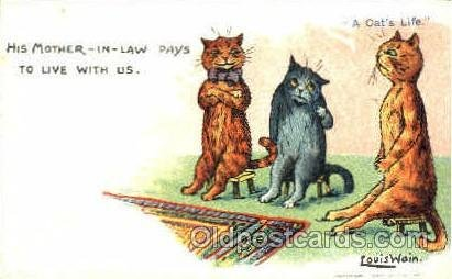 Artist Louis Wain Cat Unused light tab marks from being in album