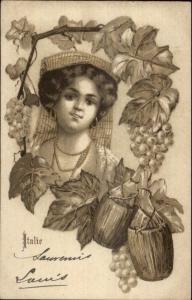 Art Nouveau - Italian Woman Grapes & Wine Bottles c1900 Postcard