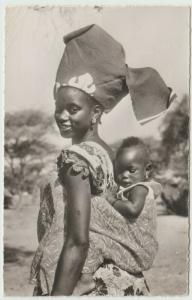 AFRICA NIGER BLACK ETHNIC TRIBE WOMAN CHILD 1958 RPPC PHOTO Postcard