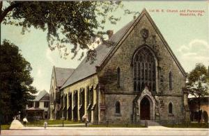 First 1st M. E. Church and Parsonage Meadville PA Vintage Postcard O19