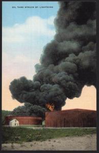 Texas ~ Oil Tank Struck by Lighting - LINEN