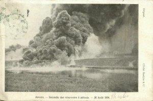 belgium, ANTWERPEN ANVERS, SIncendie réservoirs a Pétrole, Oil Tank Fire (1904)