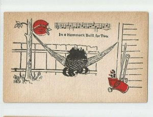 POSTCARD ~ Cats in Hammock Built for Two~ Man in Moon