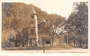 Sharon CT~Wheeler Soldiers Monument~Stone Clocktower~RPPC Litchfield Hills c1916