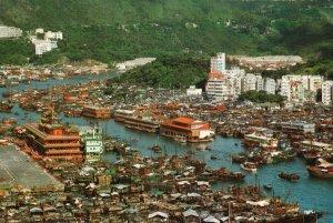 Vintage Postcard 1910's View Aberdeen Floating Seafood Restaurants Hong Kong