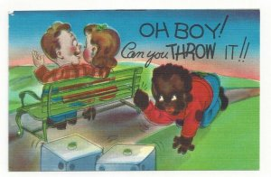 Black Americana, Boy rolling dice behind couple sitting on bench, 1930-40s