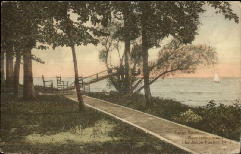 Henderson Harbor NY Sunset Roost Association Island Hand Colored Postcard