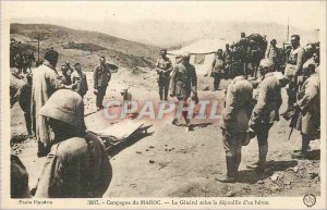 Old Postcard Campaign The General welcomes Morocco stripped a hero Army