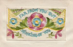 Hand Sewn, 1900-10s; Far from you But thinking of You, flowers, Insert