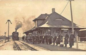 Barron WI Railroad Station Train Depot Signed Denison RPPC Real Photo Postcard