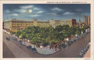 Florida Jacksonville Hemming Park By Moonlight Curteich