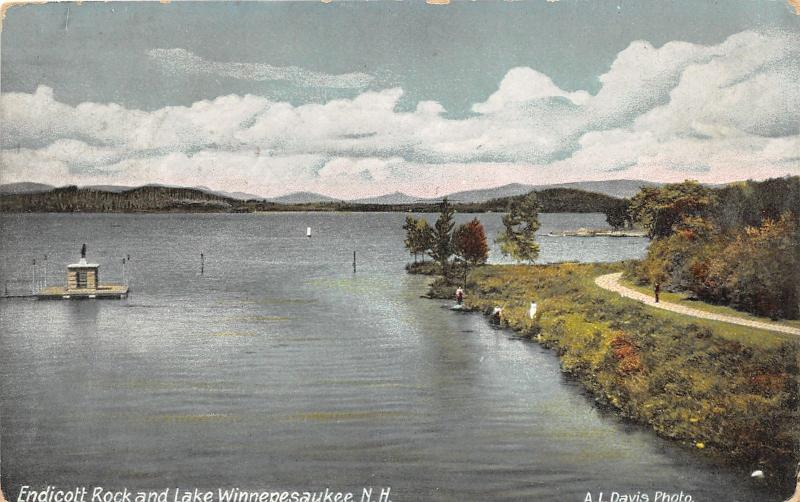 Lake Winnepesaukee New Hampshire~Endicott Rock~People along Shore~1908 Postcard