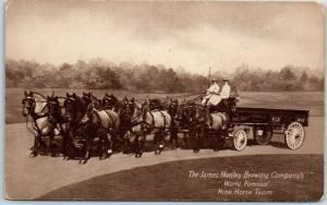 1910s JAMES HANLEY BREWING COMPANY Postcard Nine Horse Team Providence RI